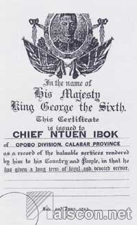 Chief Ntuen Ibok's MBE Certificate of Honour Award