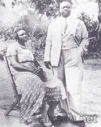 The Qua Iboe Mission Headmaster and Schools Supervisor for Opobo Division, Etim J. Asuquo, an Efik, and his wife, teacher at Minya, in 1950's