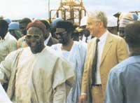 The first ALSCON Chairman, Alhaji Abubakar Alhaji, hand ing over supervision of the Aluminium project to A.V.M. Nura Iman (rtd.), the then Minister of Power and Steel on April 15th, 1992. Dr. Klaus von Menges, then Managing Director of ALSCON on the right