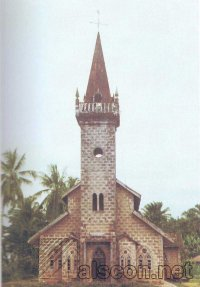The Qua Iboe Church at Ikot Usop, displaying the characteristic Qua Iboe Mission architecture