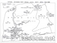 Map of Boundary Adjustments of Opobo Division/lkot Abasi LGA, 1932-1989