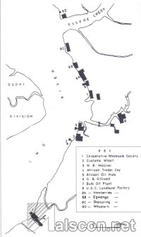 Map of Opobo Port, showing the location of trading companies. (Source: O. D. Etukaffia, 1969)