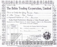 Ibibio Trading Corporation share certificate. Source: NM, Calabar