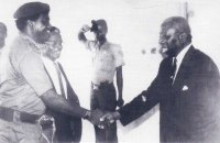 Sir Udo Udoma welcoming the first Akwa Ibom State Military Governor, Col. Tunde Ogbeha, to Ikot Abasi on February 8, 1988. Source: LG Council photo archives