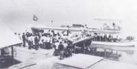 Doctor's launch being loaded at Eket for anti-sleeping sickness campaign in 1913. (Courtesy: Dr. Nicholson)