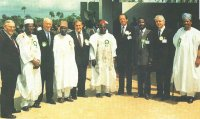 At the foundation stone laying ceremony on November 20, 1990: from left to right Mr, Roy Lee, Obong O.D. Etukafia, Dr. H. Beister, TataAskira, Mr. R. Reynolds, Alhaji Abubakar Alhaji (Chairman, ALSCON Board), Dr. H. Singer, Prof. I. C, I. Okafor, Dr. K. von Menges, High Chief Bola Adedipe