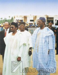 Chief E. Shonekan (on the right), then Chairman of the Interim National Government on a visit to the site in August 1993. On the left A.V.M. Nura Iman (rtd.), former Minister of Power and Steel and Chairman of ALSCON