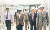 Hasni Fotana, Guinean Minister of Energy and Natural Recources (left) visiting Nigeria at the time of ALSCON Chairman Alh. Bashir Dalhatu's (2. from left) inspection tour to the project site. On the right Arnulf Lokenhoff and Udo Lahser from Ferrostaal.