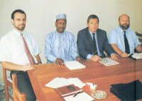 ALSCON Management in August 1997: (left) Deputy General Manager Ingo Cammans, Deputy Managing Director Eng. M. Mohammed, Managing Director Dieter Matron and General Manager Peter Waschka